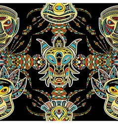 Pattern with tribal mask vector