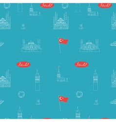 Turquoise teal blue istanbul tourist seamless vector