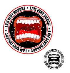 I am very hungry stamp printing for hungry people vector