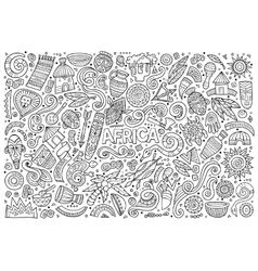 doodle cartoon set of Africa objects vector image