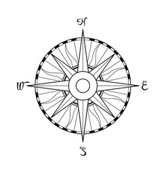 windrose symbol compass and location coordinate on vector image