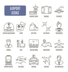 Airport icons set of pictograms vector