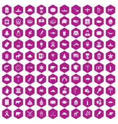 100 north america icons hexagon violet vector