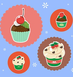 Christmas cup cake vector