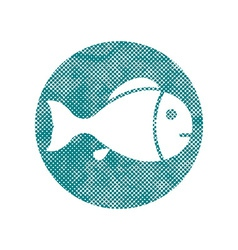 Fish symbol with pixel print halftone dots texture vector image