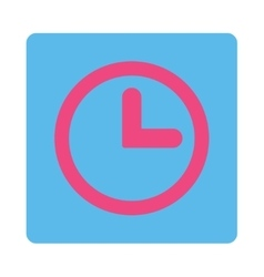 Clock flat pink and blue colors rounded button vector