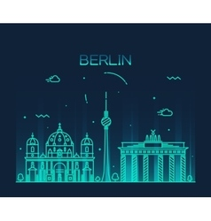 Berlin skyline trendy linear vector