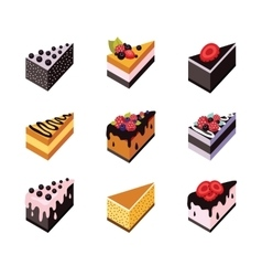 Cake set isometric flat design web icon collection vector