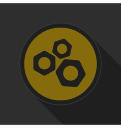 Dark gray and yellow icon - nuts vector