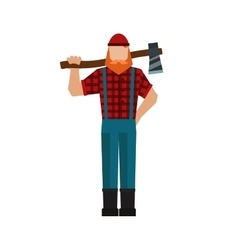 Lumberjack woodman woodcutter an ax carpenter vector
