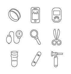 Line icons medical basic device icon set vector