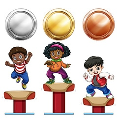 Sport medals and children on balance bar vector