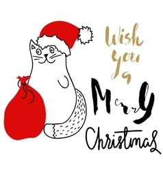 Cat in christmas hat with a red bag holiday vector