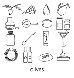 Olives and olives product theme black simple vector