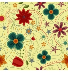 Abstract seamless pattern with flowers retro vector image vector image