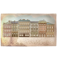 Antique European street Vintage post card vector image vector image
