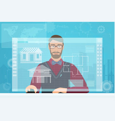 architect builder man working using virtual media vector image vector image