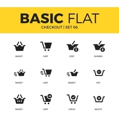 Basic set of checkout icons vector