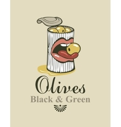 Black and green olives vector