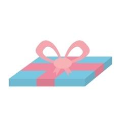 blue gift box pink ribbon surprise vector image