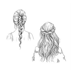 Braids hairstyle drawing vector