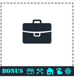 Briefcase icon flat vector