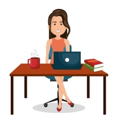 cartoon businesswoman office work desktop graphic vector image