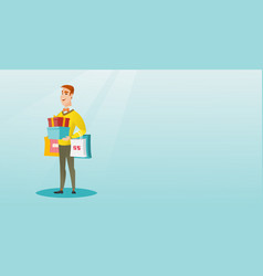 Caucasian man holding shopping bags and gift boxes vector