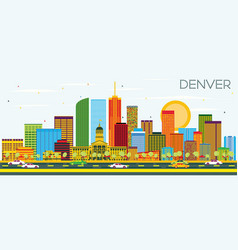 Denver skyline with color buildings and blue sky vector