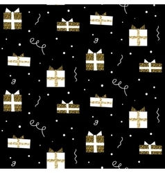 Glitter scandinavian gift black ornament vector