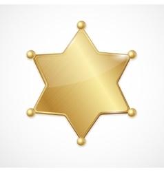 Golden sheriff badge star blank vector