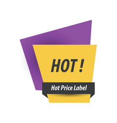 Hot price label purple yellow black vector