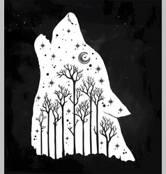 howling double exposure wolf forest background vector image vector image