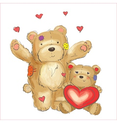 Lovely bears with hearts sketch vector