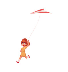 Pretty teenage girl running with colorful kite vector
