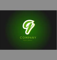 Q alphabet letter logo green 3d company icon vector