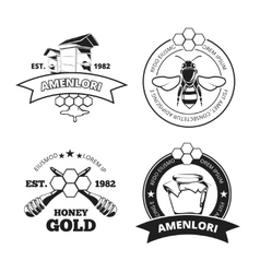 Retro beekeeper honey emblems logos in vector