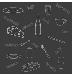 Seamless pattern of kitchen utensils vector