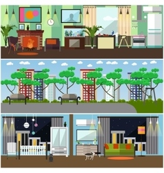 Set of family interior concept design vector