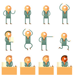 Set of flat human business icons vector