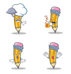 Set of pencil character with chef trumpet vector