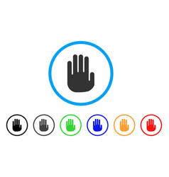 stop hand rounded icon vector image