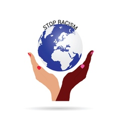 Stop racism with planet earth vector