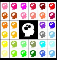 Thinking head sign felt-pen 33 colorful vector