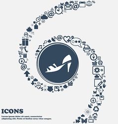 Shoe icon in the center Around the many beautiful vector image
