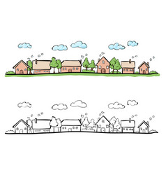 cartoon hand drawing of small town vector image