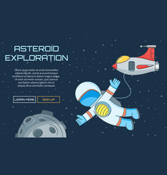 Asteroid exploration background vector