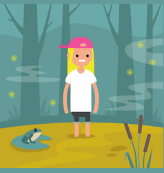 Young female character stuck in the swamp flat vector