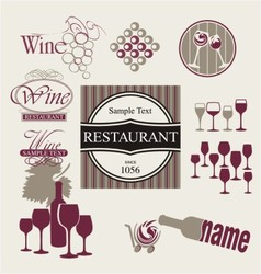 Set of wine and drink design elements vector