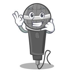 Call me microphone cartoon character design vector